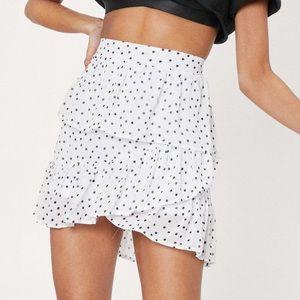 NWT NastyGal Polka Dot Ruffle Tiered Mini Skirt